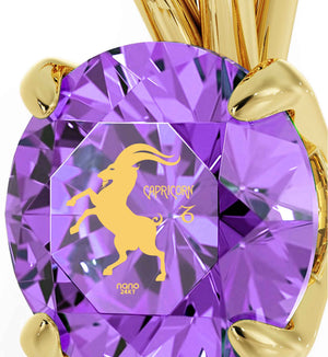 """Valentines Presents for Her, Capricorn Zodiac Engraved on Purple Jewelry, Best Womens Gifts, by Nano """