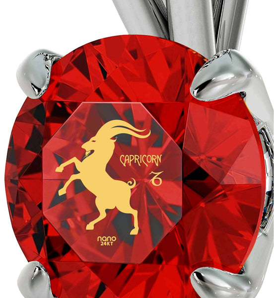 """Valentines Presents for Her, Capricorn Zodiac Engraved on Ruby Pendant, Children's Birthstone Jewelry, by Nano """