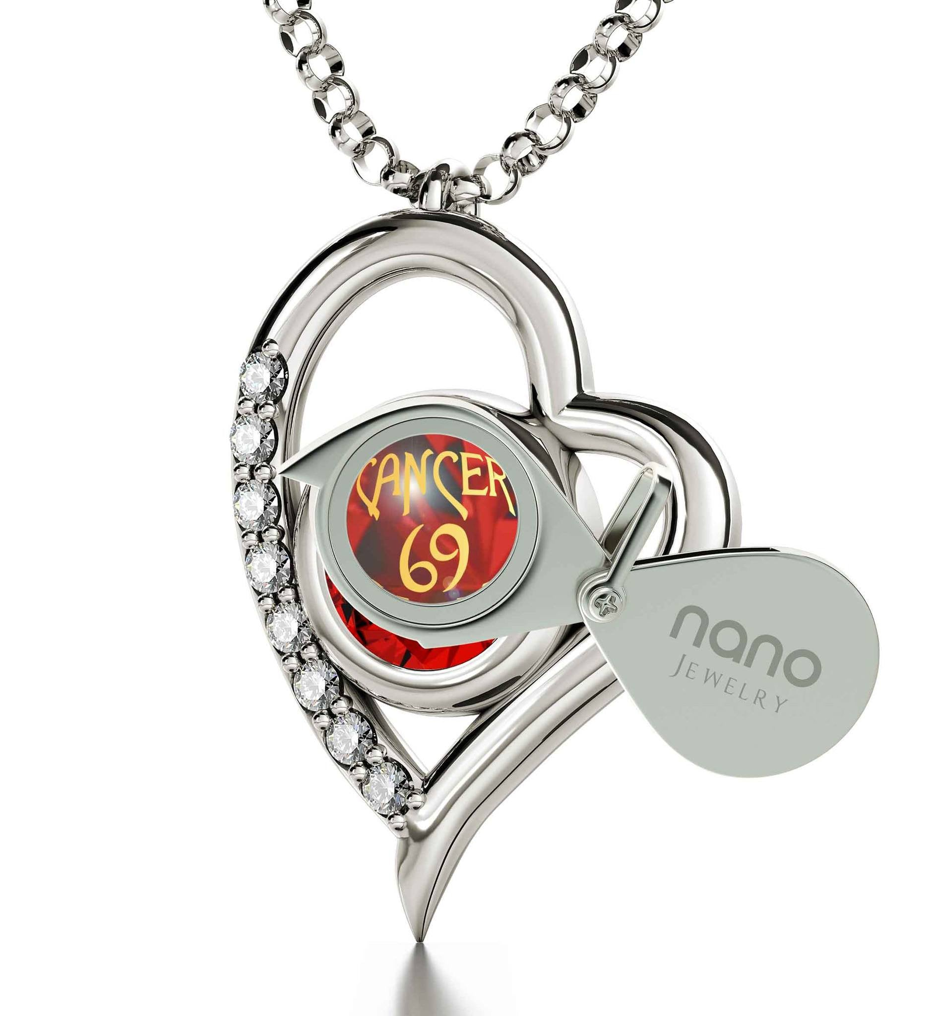 """Cancer Zodiac Necklace With Imprint, Perfect Valentines Gift for Her, Good Christmas Presents for Best Friends, by Nano Jewelry"""