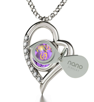 """Crab Necklace With Zodiac Imprint, Christmas Present Ideas for Wife, Unusual Birthday Gifts for Her, Purple Pendant"""