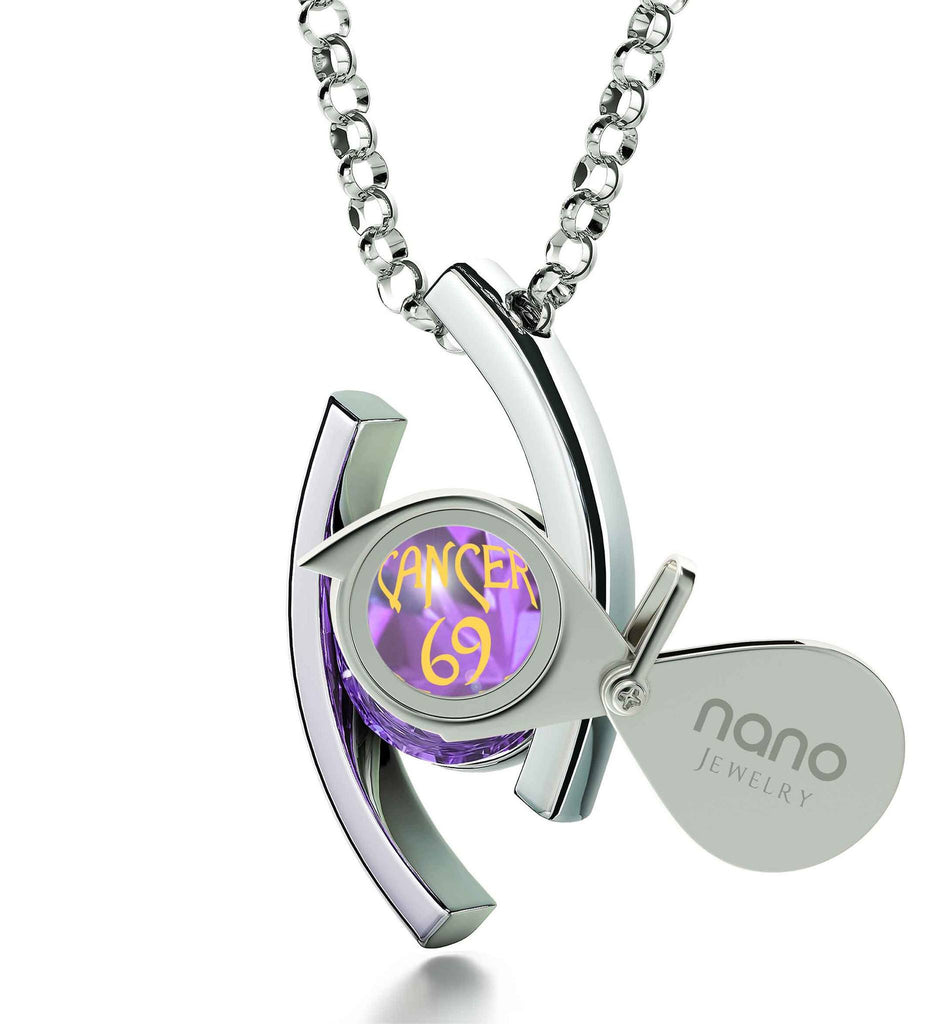 """Cancer Zodiac Necklaces With 24k Imprint, Girlfriend Christmas Presents, Womens Birthday Gifts, Purple Pendant"""