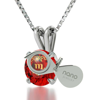 """Cute Christmas Gifts for Your Girlfriend, Zodiac Sign Engraved on Ruby Necklace, Scorpio Female Traits"""