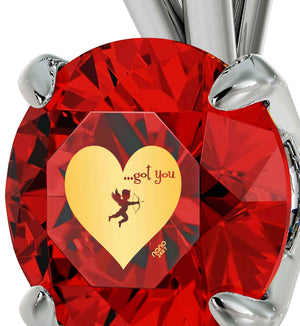 "Cute Necklaces for Her, ""...Got You"" Engraved On Red CZ Charm, Valentine Gift for Wife, by Nano Jewelry"