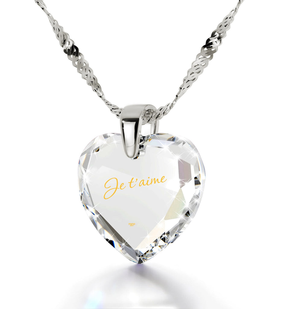 "Cute Necklaces for Her, 14kWhite Gold Chain, ""Je T'aime"", Love in Different Languages, Nano Jewelry"