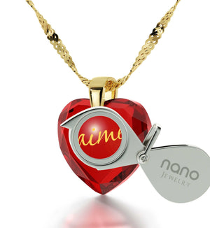 "Cute Necklaces for Her, 14kt Gold Chain, ""Je T'aime"", Love in Different Languages, Nano Jewelry"