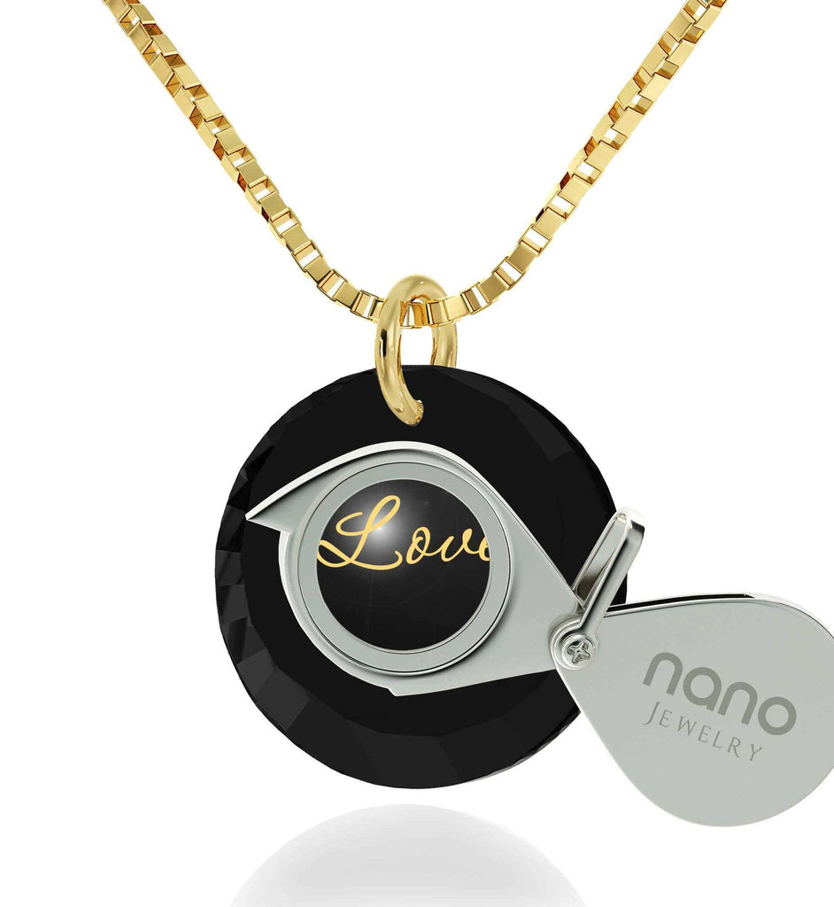 Cute Necklaces for Her, 24k Engraved Pendant, 14k Gold Jewelry, Best Womens Gifts, Nano