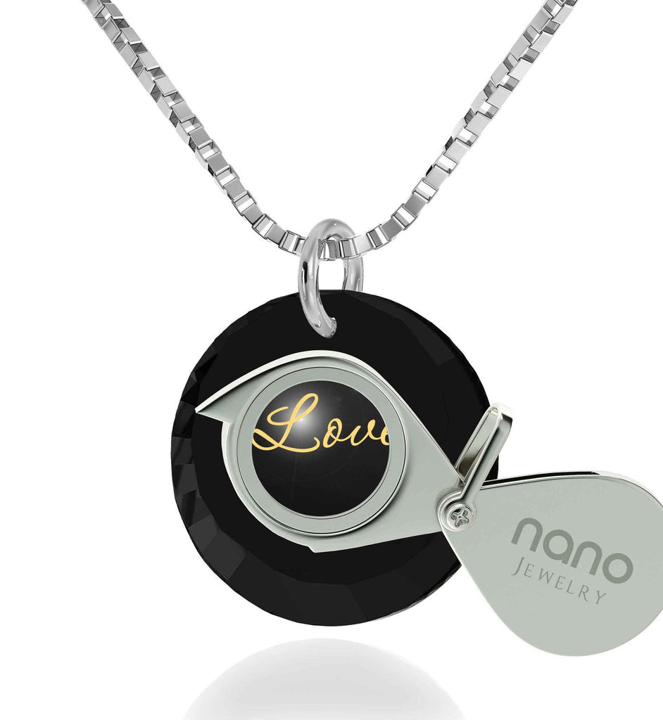 Cute Necklaces For Her 24k Engraved PendantWhite Gold Jewelry Best Womens Gifts Nano