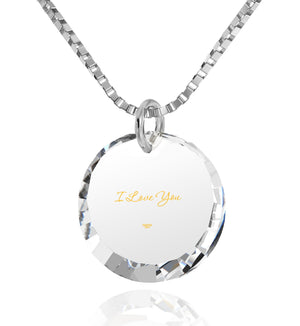 Cute Necklaces For Her Cz Jewelry I Love You 24k Imprinted Pendant Womens Presents Nano
