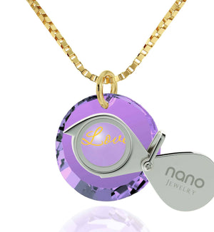 "Cute Necklaces for Her, CZ Jewelry,""I Love You"" 24k Imprinted Pendant, Womens Presents, Nano"