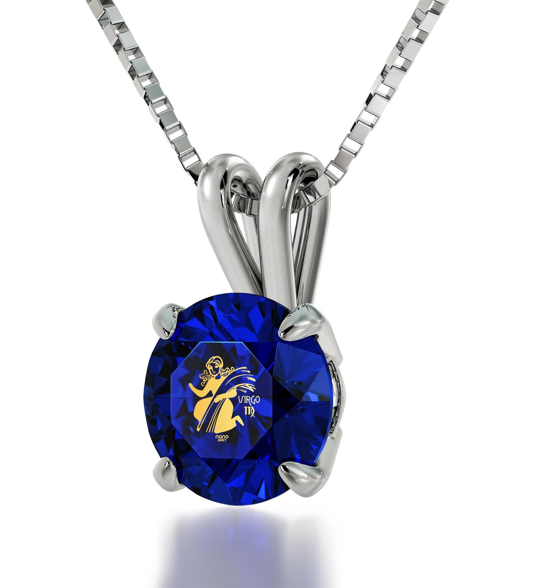 """Birthday Gift for Teenage Girl, Virgo Sign Engraved on Blue Stone Jewellery, Best Presents for Girlfriend """