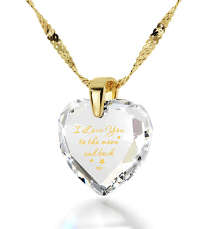 """Good Christmas Presents for Girlfriend, 24k Engraved Pendant, Gold Filled Chain, Gift for Wife Anniversary,Nano Jewelry"""