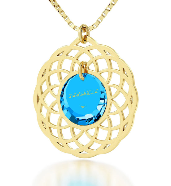 "Cute Necklaces for Her,""Ich Liebe Dich"" Gold Filled Chain, Blue Stone Jewellery, Nano"