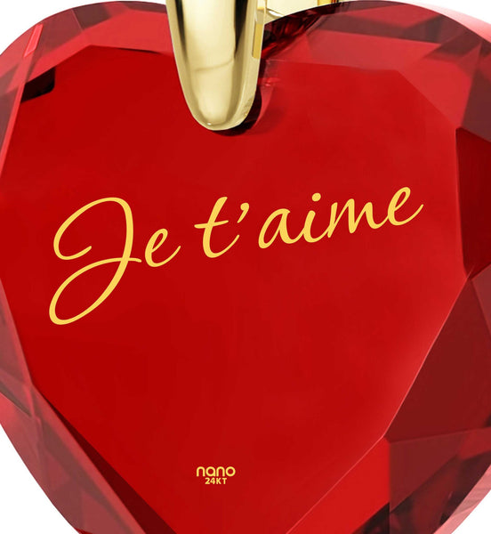"Whats My Love Language, CZ Jewelry,""Je T'aime"", Cute Gift Ideas for Girlfriend, Nano"