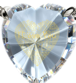 Good Anniversary Gifts for Her, Love in Other Languages, CZ Crystal Heart, What to Get Your Girlfriend for Valentines Day