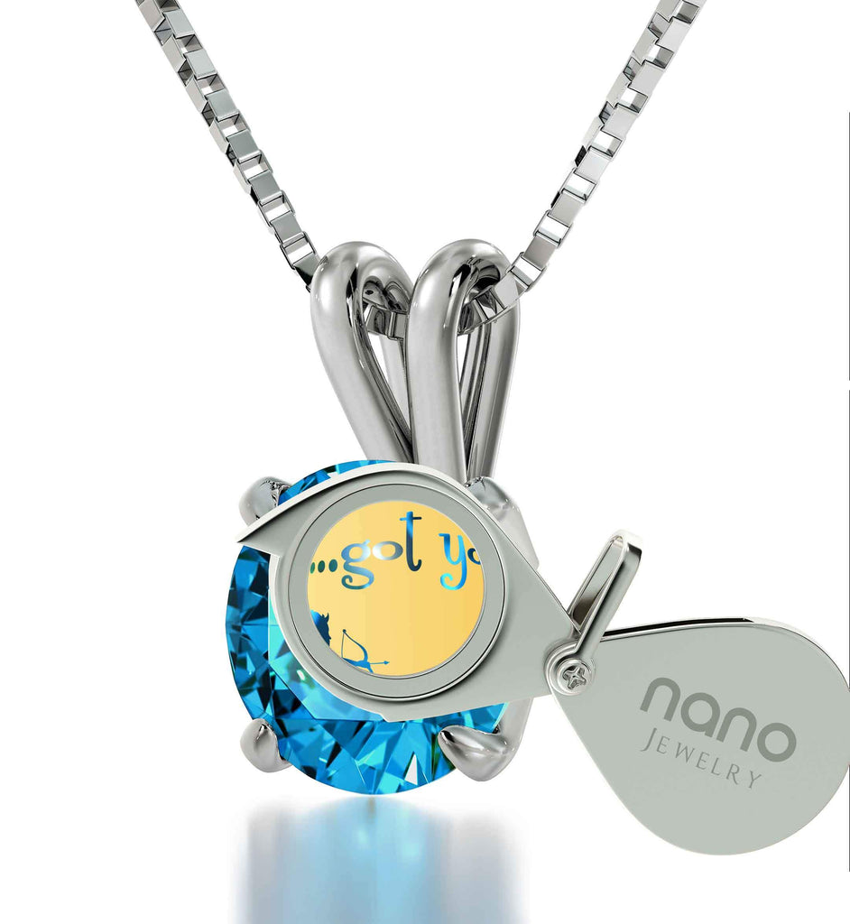 "Cute Necklaces for Her, Sterling Silver Jewelry with ""...Got You"" Engraved on CZ Pendant, Valentine's Day Gifts for Wife"