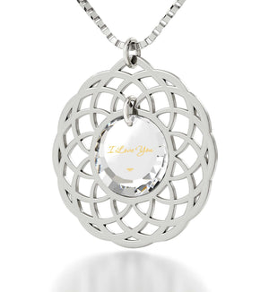 Cute Necklaces for Her,Sterling Silver Mandala Frame, Best Presents for Girlfriend, Nano Jewelry