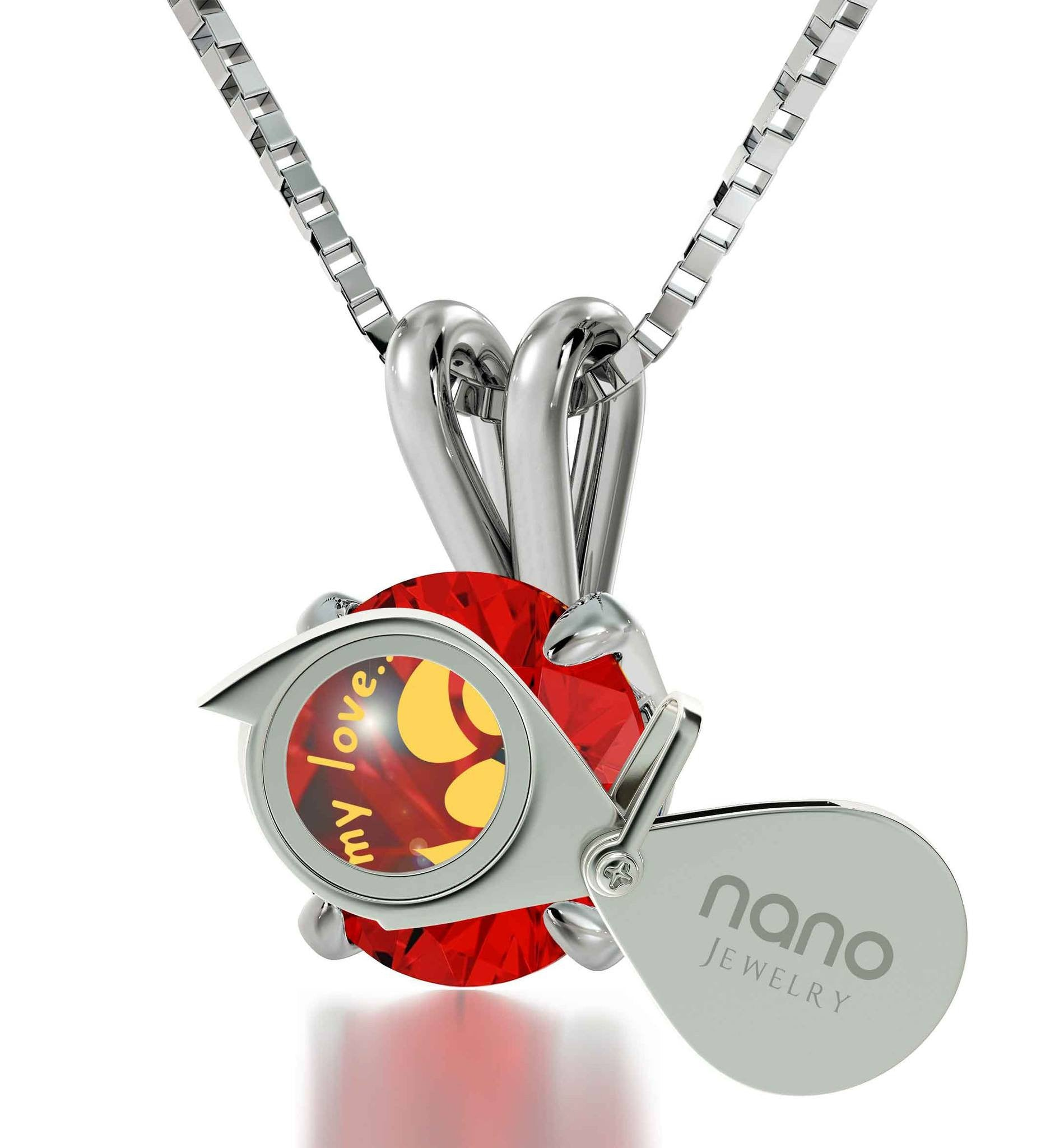 """Valentines Presents for Her, Cute SilverEngraved Necklace, Mother's Day Gifts for Wife, by Nano Jewelry"""