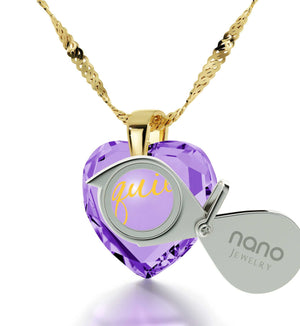 "Cute Necklaces for Her,""Te Quiero"", Fine Gold Jewelry, Cool Christmas Presents, Nano"