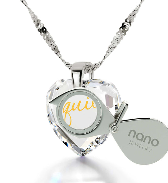 "Cute Necklaces for Her,""TeQuiero"",Sterling Silver Chain, Unusual Birthday Gifts for Her, Nano Jewelry"