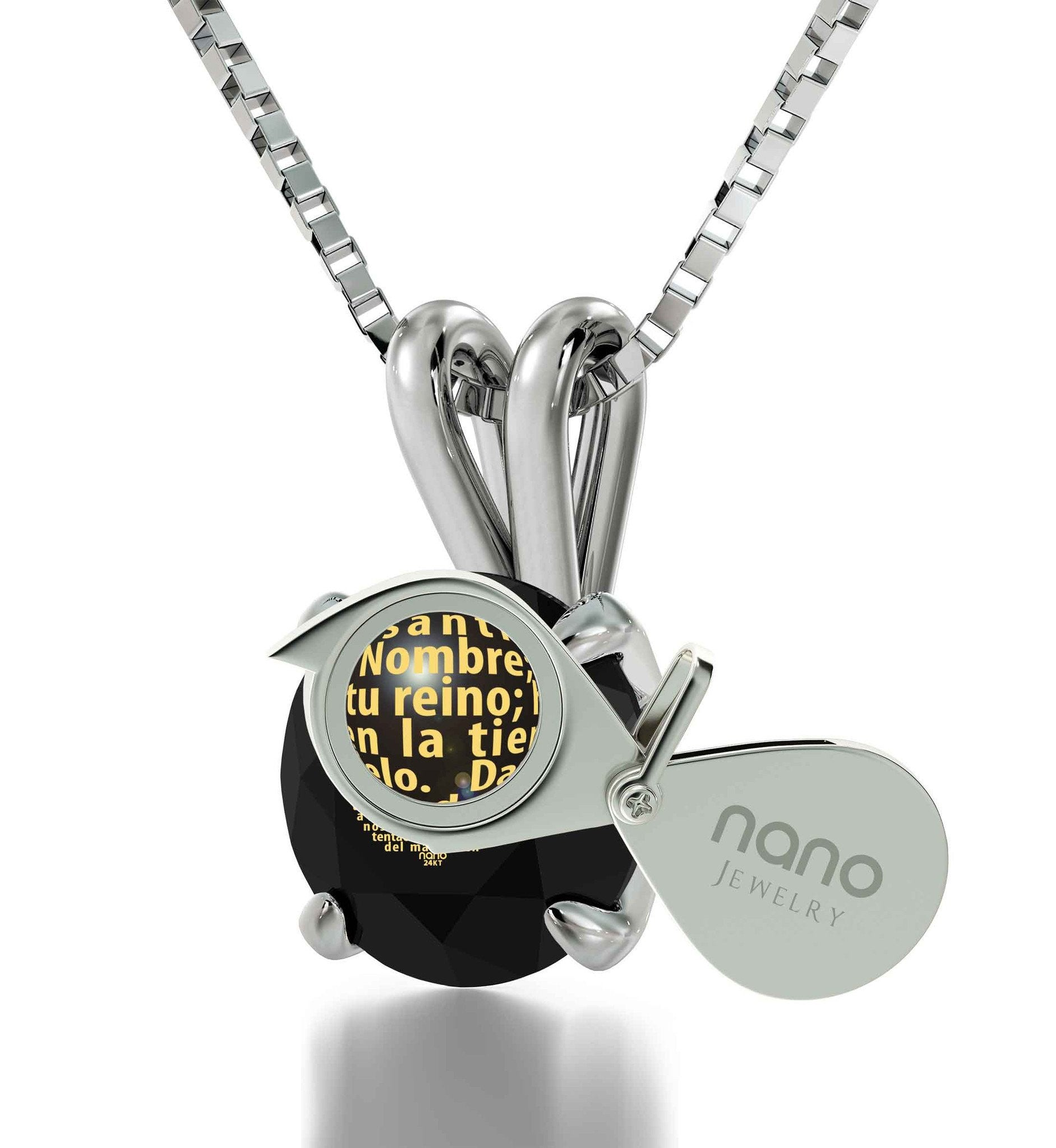 Spanish Bible Verse Necklace, Unique Imprint. Buy Now! Nano Jewelry!