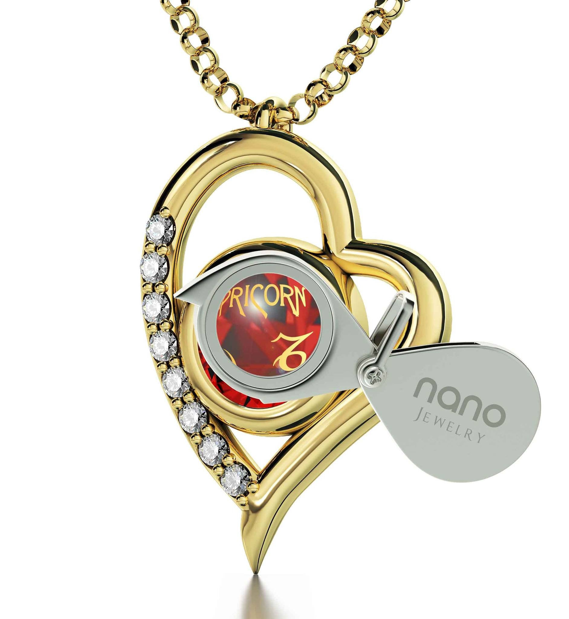 """Cute Red Capricorn Charm with Heart Frame, Great Valentines Gifts for Her, Womens Gold Chains"""