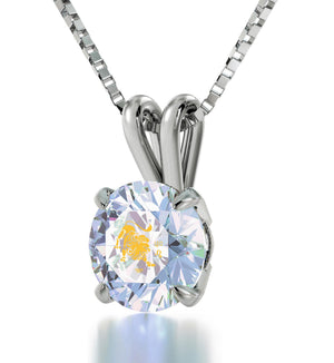 """Leo Crystal CZ Necklace, Valentine's Day Gift Ideas for Girlfriend, What to Get My Wife for Christmas, Nano Jewelry"""