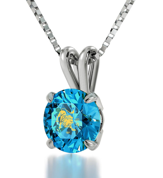 """Cute Turquoise Leo CZ Sterling Silver Necklace, Christmas Presents for Sister, Valentine Gift for Wife, Nano Jewelry"""