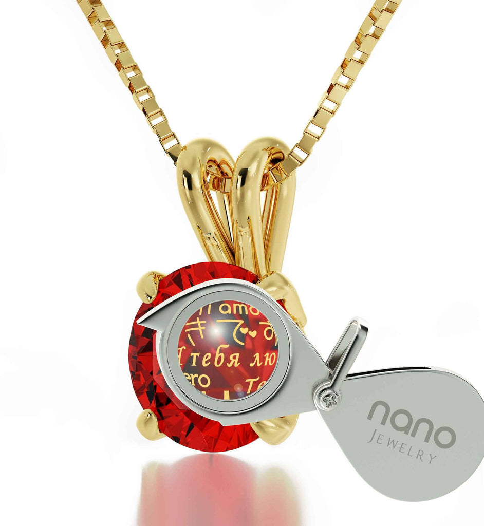 Cute Valentines Day Gifts for Girlfriend, CZ Red Stone, Dainty Gold Necklace, Xmas Ideas for Wife by Nano Jewelry