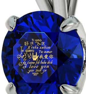 "Best Presents for Girlfriend, ""Te Amo"", Blue Stone Jewellery, Valentines Ideas for Wife by Nano"
