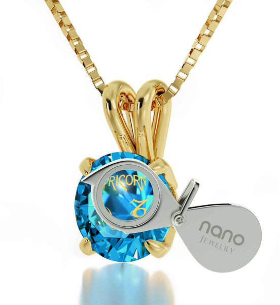 """Cool Presents for Christmas, Capricorn Zodiac Sign Engraved on Blue Topaz Jewelry, Cool Teen Gifts, by Nano """