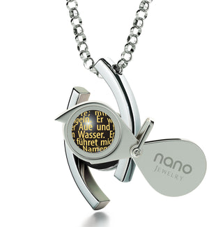 """Der Herr Ist Mein Hirte Engraved in 24k: Christmas Gifts for Best Friend Female, Catholic Store Online by Nano Jewelry"""