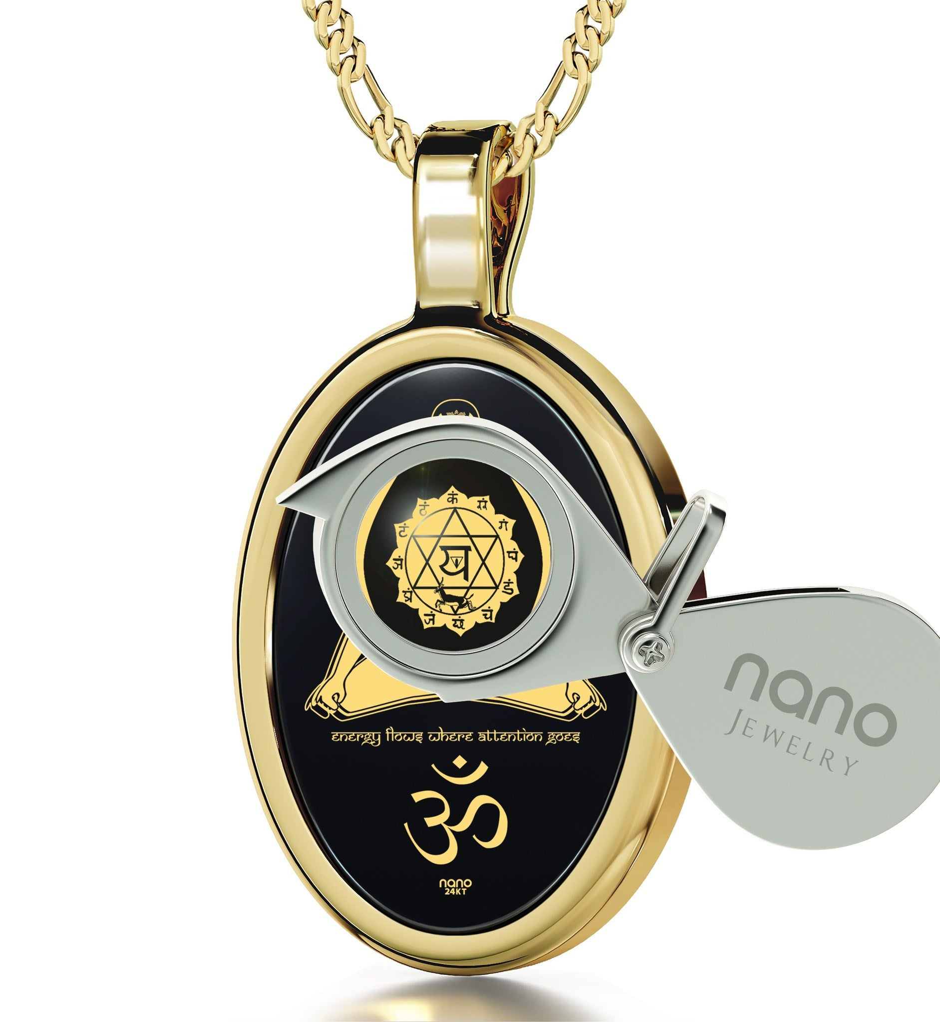 """Energy Flows Where Attention Goes"" Engraved in 24k: Mens Gifts for Birthday, Christmas Gifts for Sister, Chakra Necklace, Nano Jewelry"