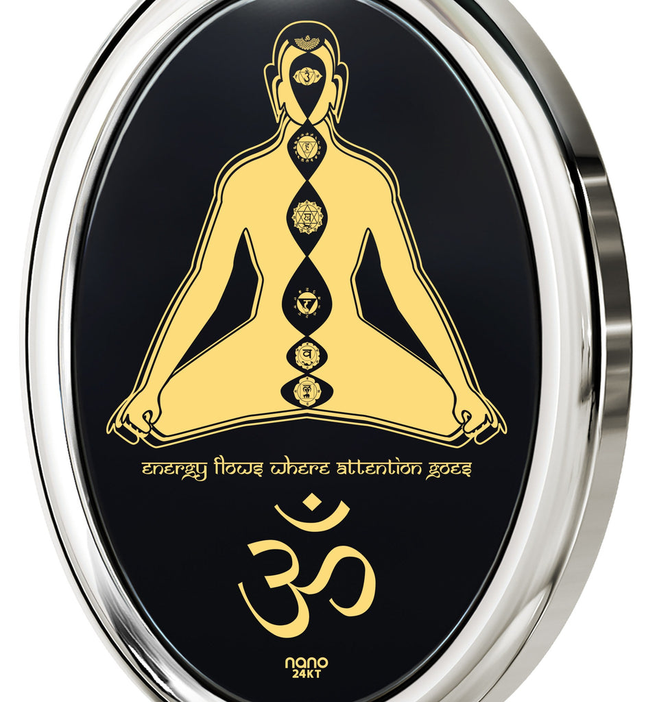"""Energy Flows Where Attention Goes"" Engraved in 24k:Wife Birthday Ideas, Christmas Gifts for Sister, Chakra Necklace by Nano Jewelry"