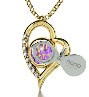 """Gemini Pendant With Zodiac Imprint, Birthday Present for Sister, Cute Gift Ideas for Girlfriend, by Nano Jewelry"""