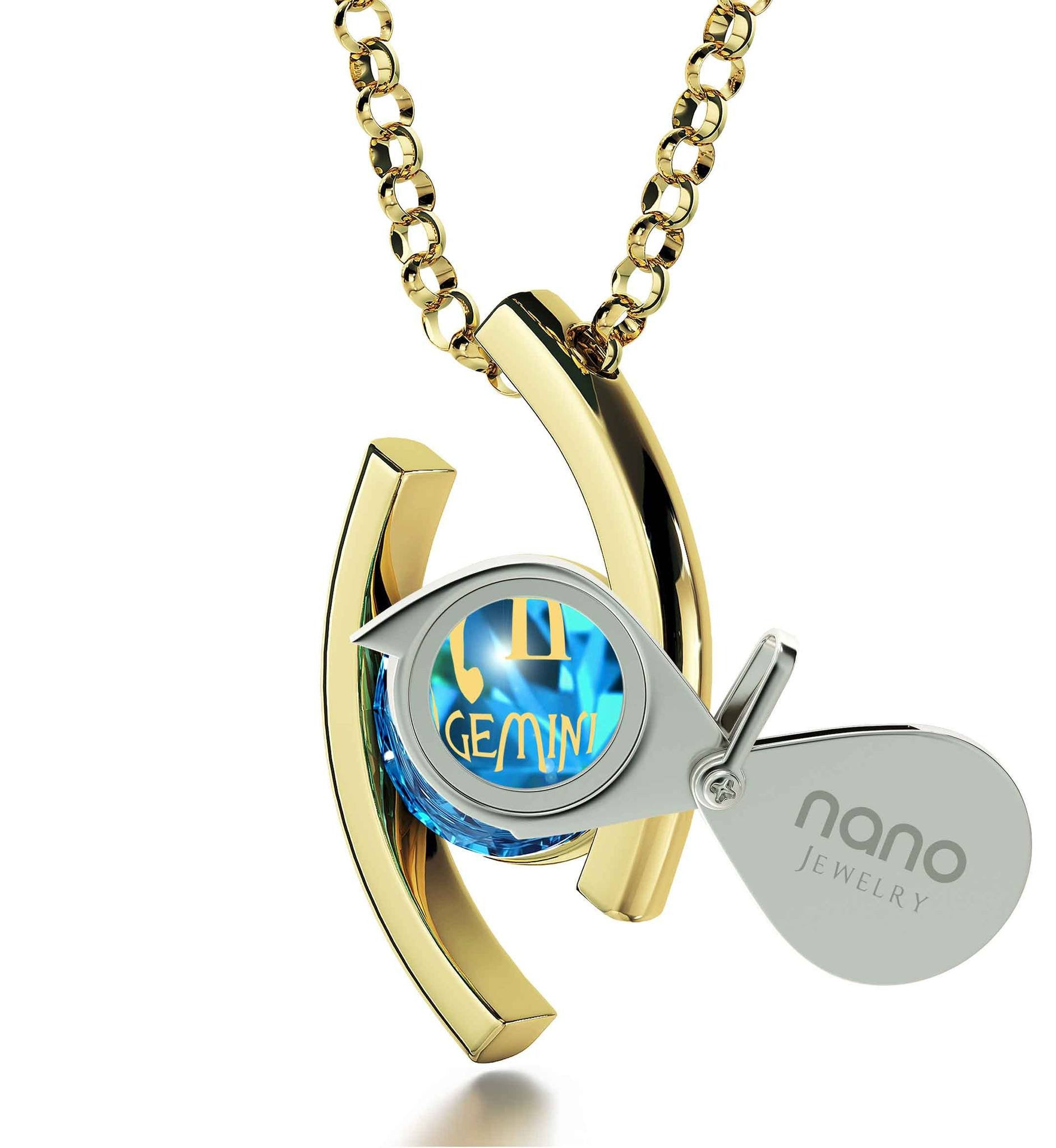 """Gemini Jewelry With Zodiac Imprint, Christmas Presents for Sister, Valentine Gifts for Girlfriend, Blue Stone Necklace"""