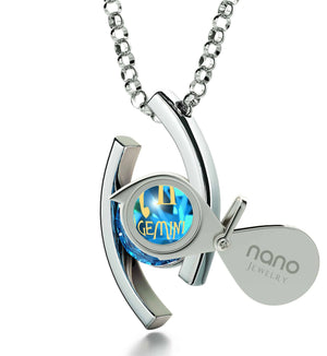 """Gemini Jewelry With Zodiac Imprint, Christmas Gifts for Best Friend Female, Presents for Her Christmas, Blue Stone Necklace"""