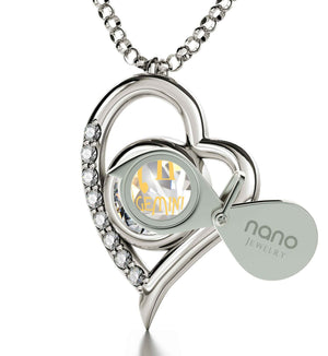 """Gemini Necklace With Zodiac Imprint, Xmas Presents for Her, Cute Gifts for Girlfriend, White Gold Jewellery"""