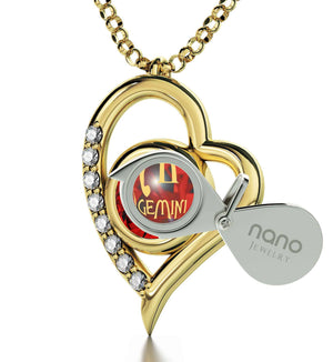"""Gemini Necklace With Zodiac Imprint, Christmas Present Ideas for Her, Cool Gifts for Girlfriend, Real Gold Jewelry"""