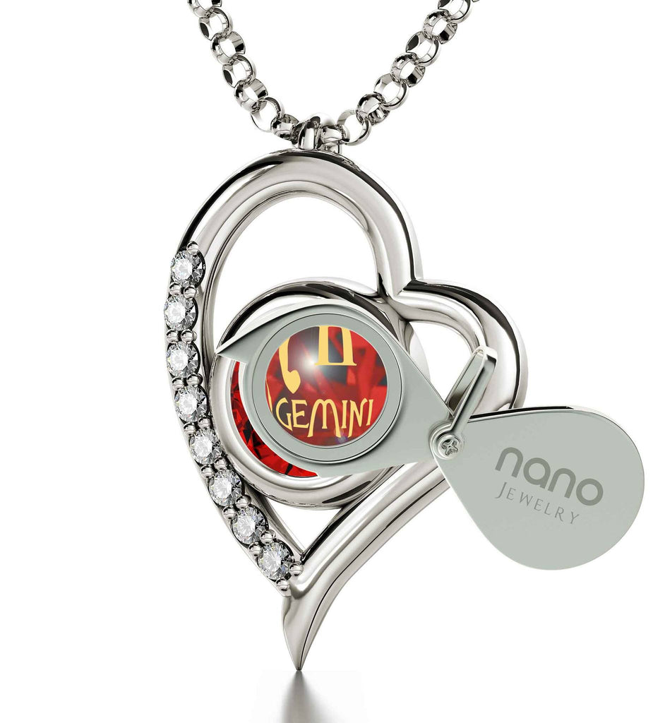 """Gemini Pendant With Zodiac Imprint, Good Christmas Presents for Girlfriend, Gifts for Women Friends, Ruby Jewelery """