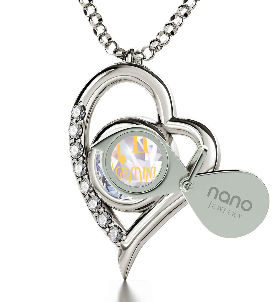 """Gemini Necklace With Zodiac Imprint, Christmas Presents for Best Friends, Best Birthday Gift for Girlfriend, by Nano Jewelry """