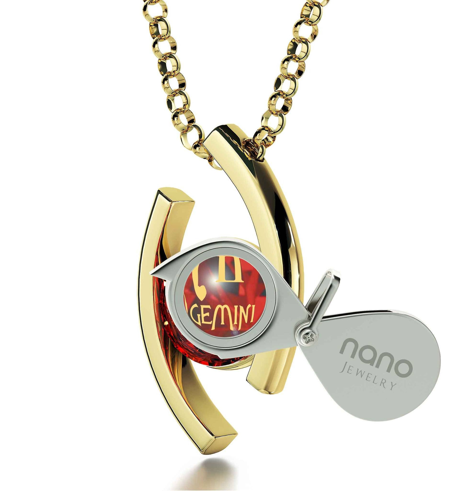 """Gemini Jewelry With 24k Imprint, Womens Christmas Ideas, Best Presents for Girlfriend, Red Pendant Necklace"""