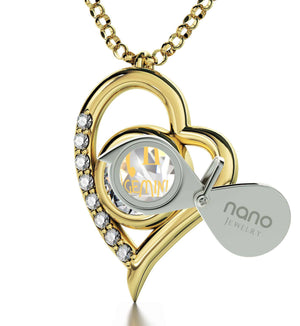 """Gemini Necklace With Zodiac Imprint, Xmas Presents for Her, Cute Gifts for Girlfriend, Real Gold Jewelry"""