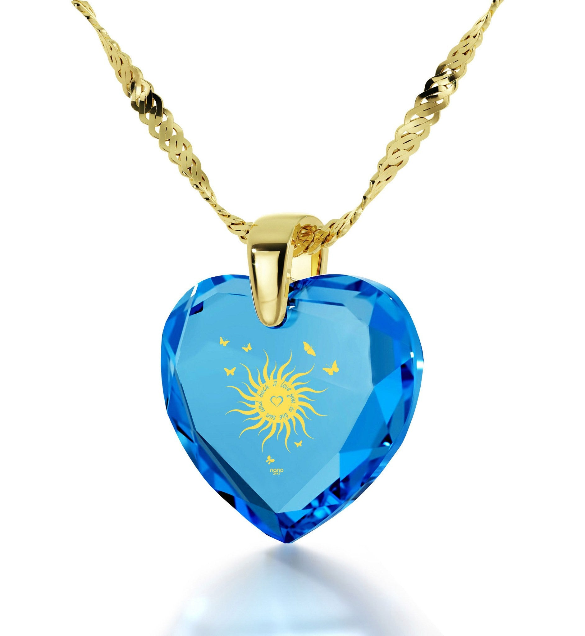 """Things to Get Your Girlfriend for Christmas, CZ Blue Heart,Real Gold Necklace, Valentines Day Ideas for Her """