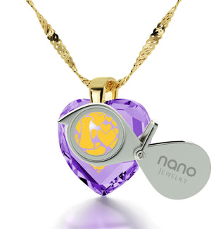 """Gift for Wife Birthday, 14k Gold, 24k Imprint, Different Ways to Say I Love You, Nano Jewelry"""