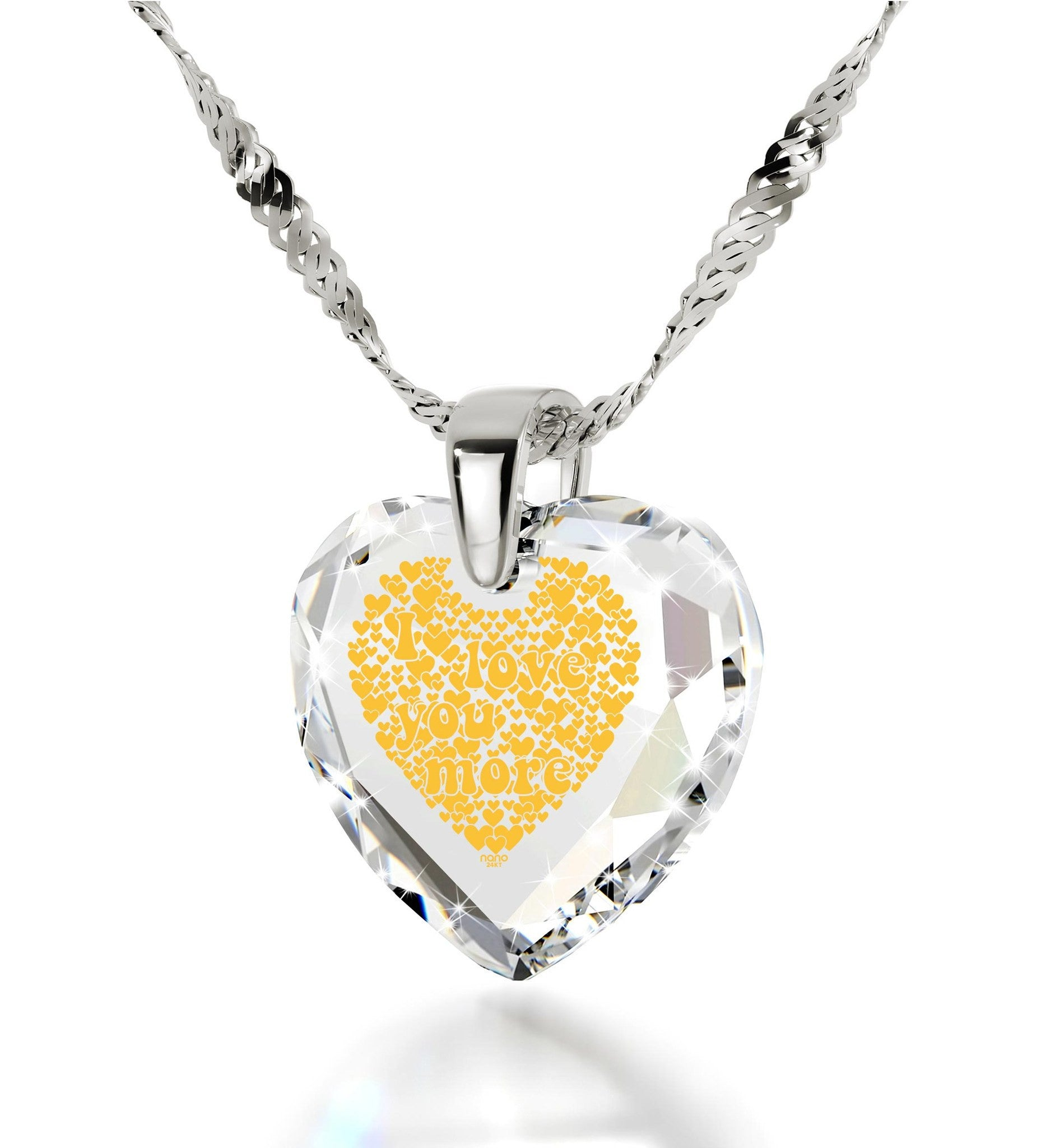 """Gift for Wife Birthday,14k White Gold, 24k Imprint, Different Ways to Say I Love You, Nano Jewelry"""