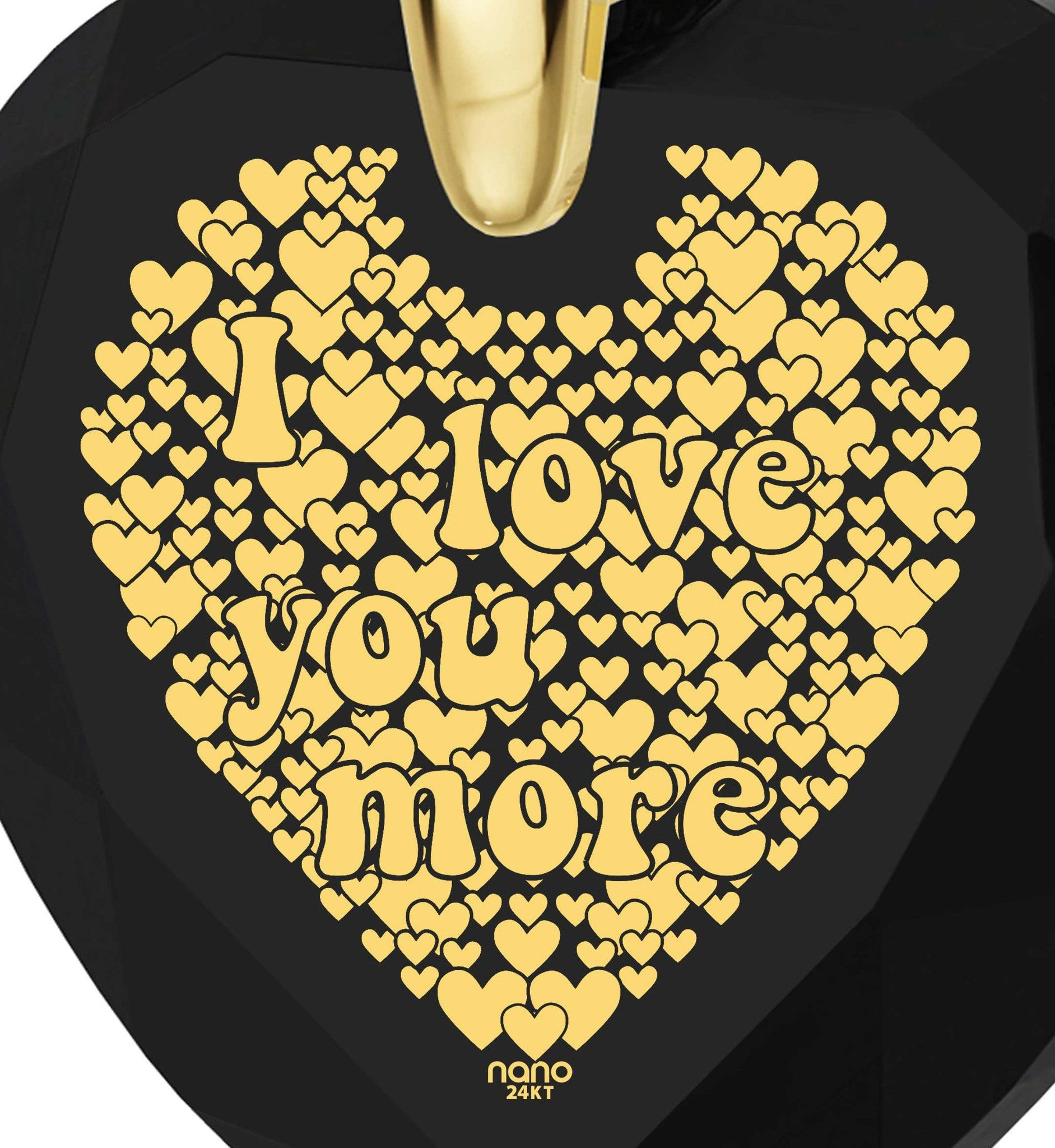 """Great Gifts for Wife,""I Love You More"", 24k Engraved, Romantic Birthday Ideas for Girlfriend, Nano Jewelry"""