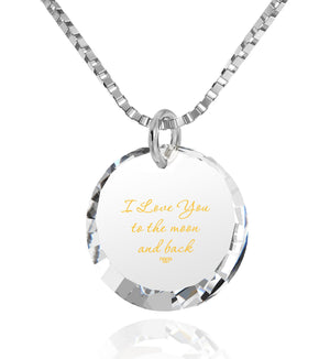Words of Affirmation Love Language,14k White Gold Necklace, 24k Imprint, Great Gifts for Wife, Nano Jewelry