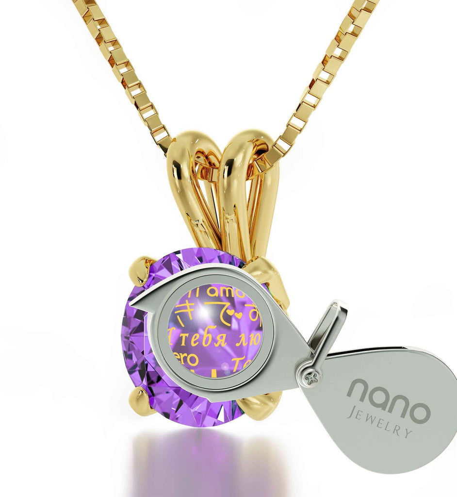 "Gift for Wife Birthday, ""Ti Amo"", CZ Purple Stone, What to Buy Your Girlfriend for Christmas by Nano Jewelry"
