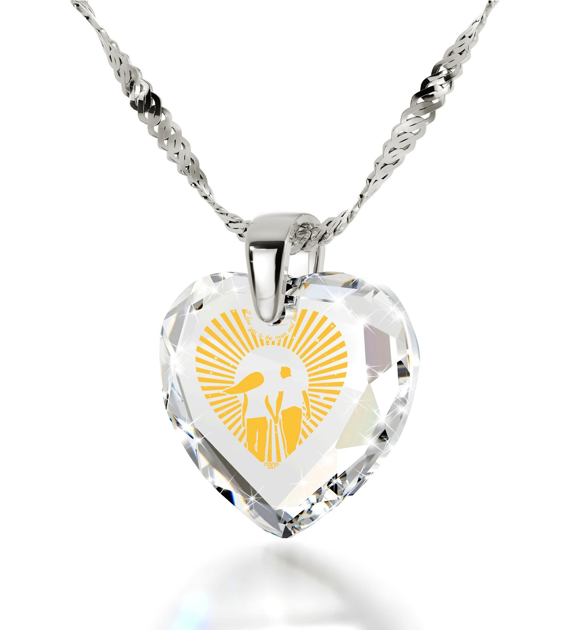 """Gift Ideas for Women,""I Love You to the Moon and Back"", Transparent CZ Jewelry, Present for Girlfriend"""