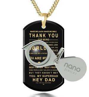 Gifts for Father in Law, 14k Gold Chain with Meaningful Pendant, Birthday Presents for Dad, by Nano Jewelry